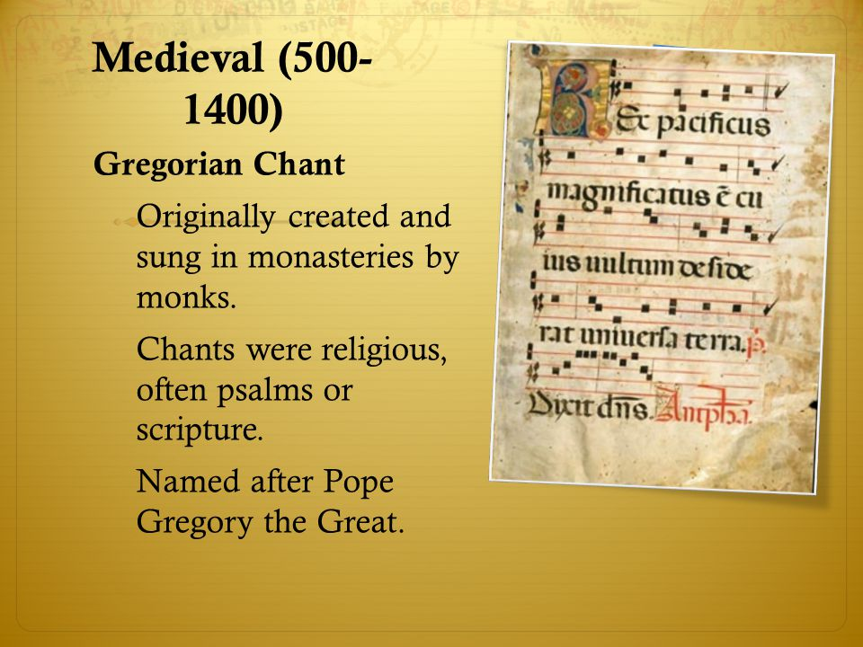 Medieval (500-1400) Gregorian Chant