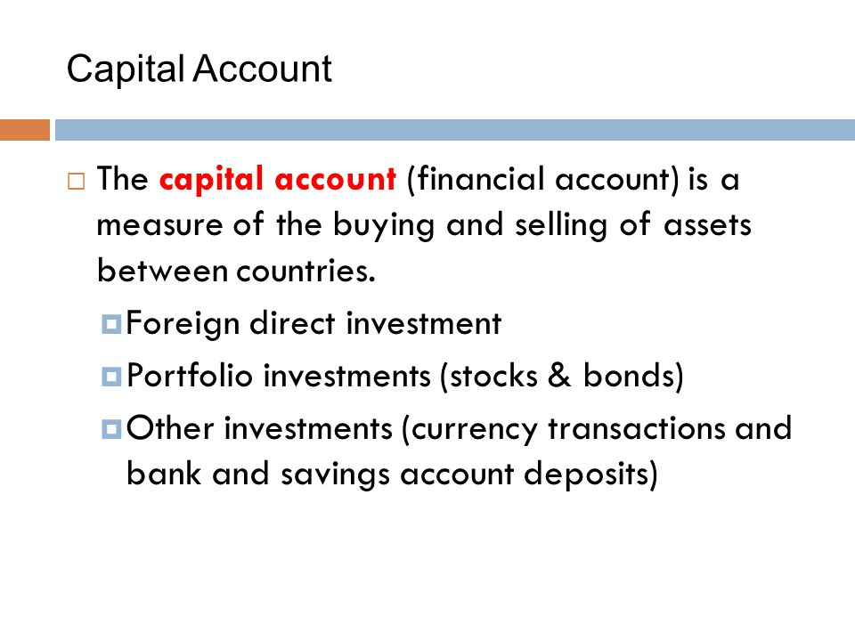 Capital Account The capital account (financial account) is a measure of the buying and selling of assets between countries.