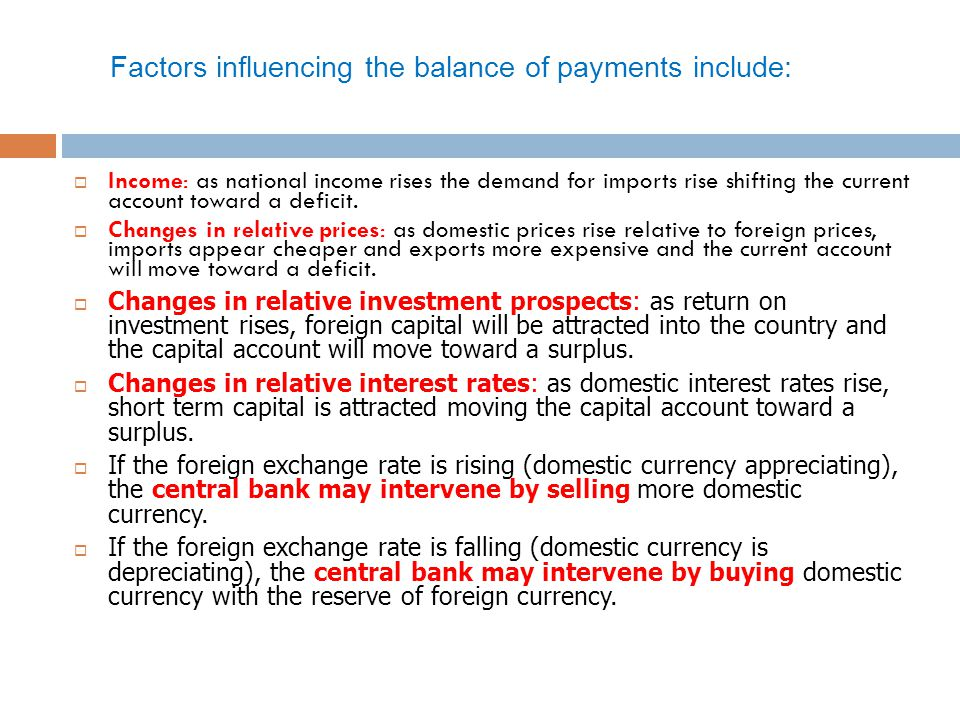Factors influencing the balance of payments include: