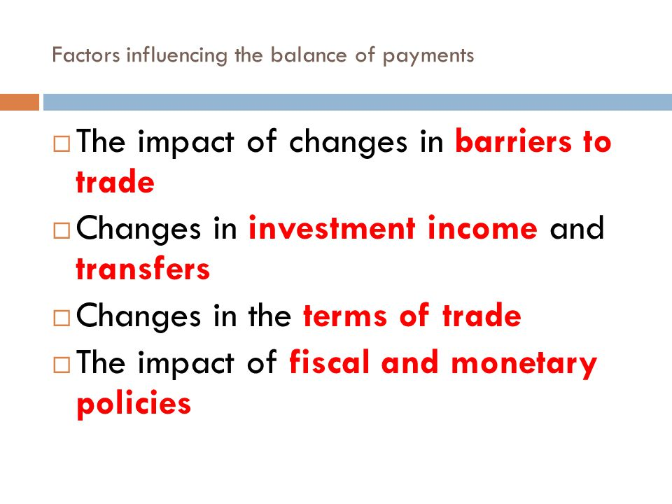 Factors influencing the balance of payments