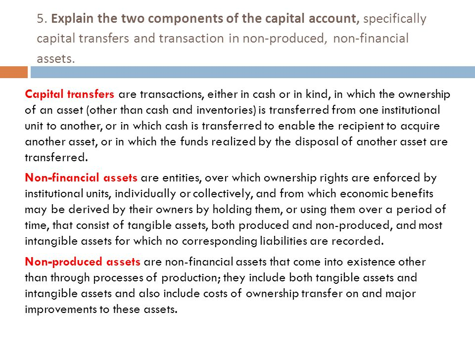 5. Explain the two components of the capital account, specifically capital transfers and transaction in non-produced, non-financial assets.
