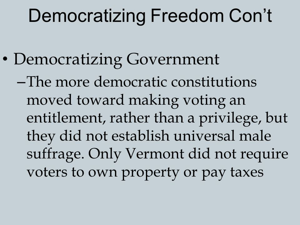 Democratizing Freedom Con't