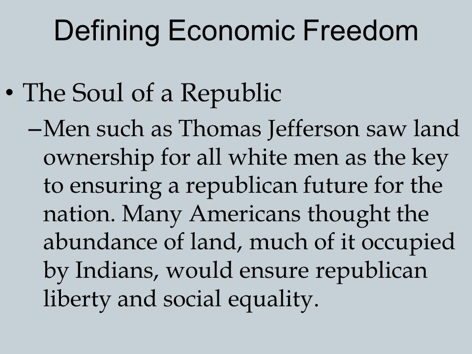 Defining Economic Freedom
