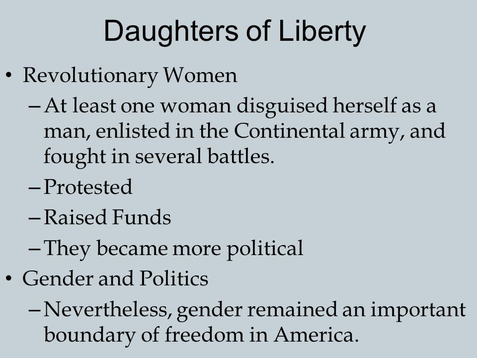 Daughters of Liberty Revolutionary Women