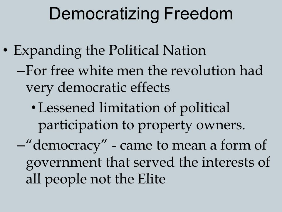 Democratizing Freedom