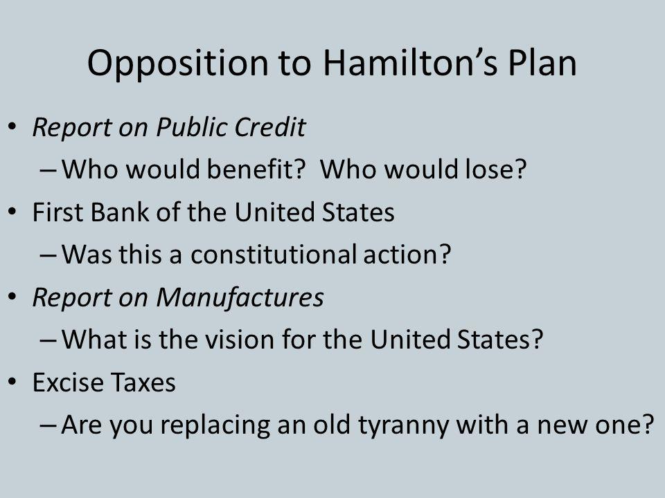 Opposition to Hamilton's Plan