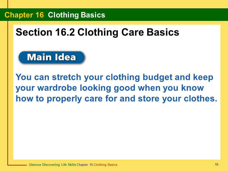 Section 16.2 Clothing Care Basics