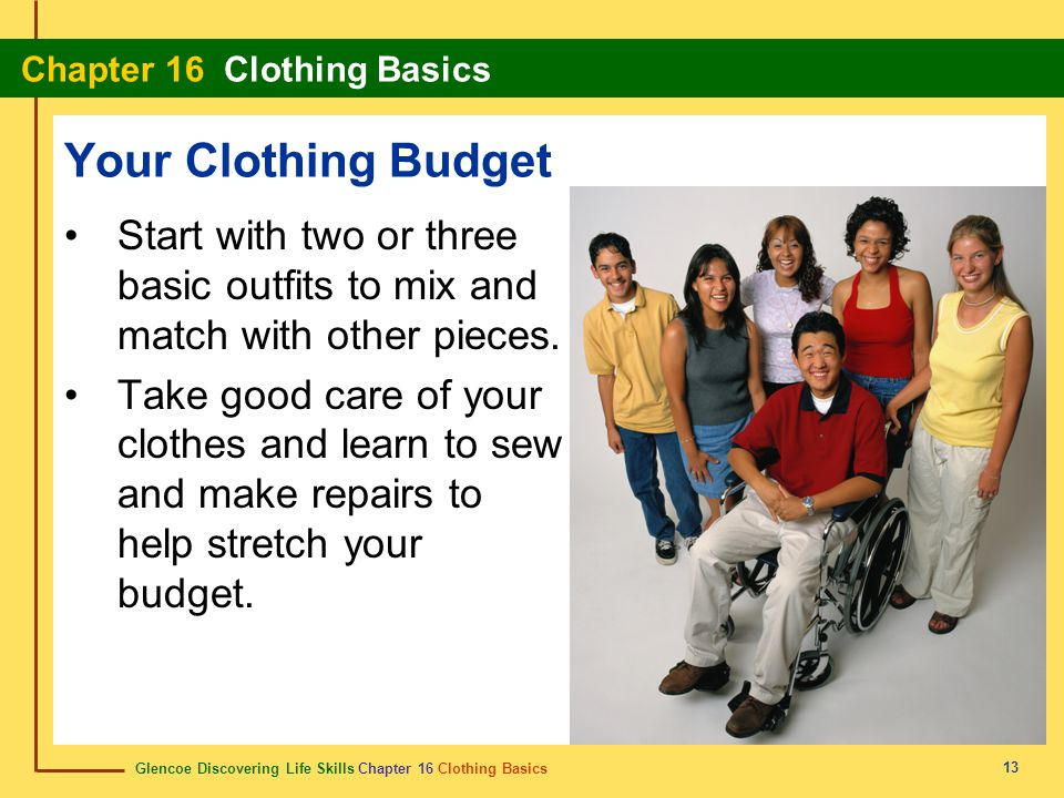 Your Clothing Budget Start with two or three basic outfits to mix and match with other pieces.