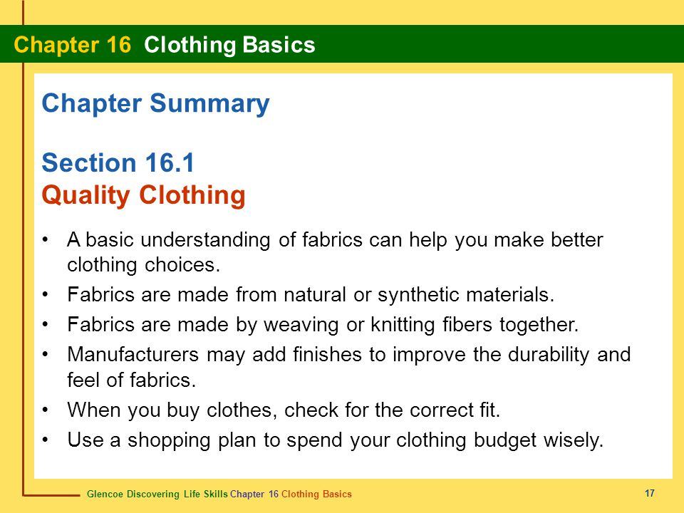 Chapter Summary Section 16.1 Quality Clothing