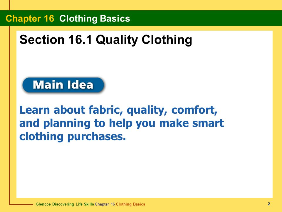Section 16.1 Quality Clothing