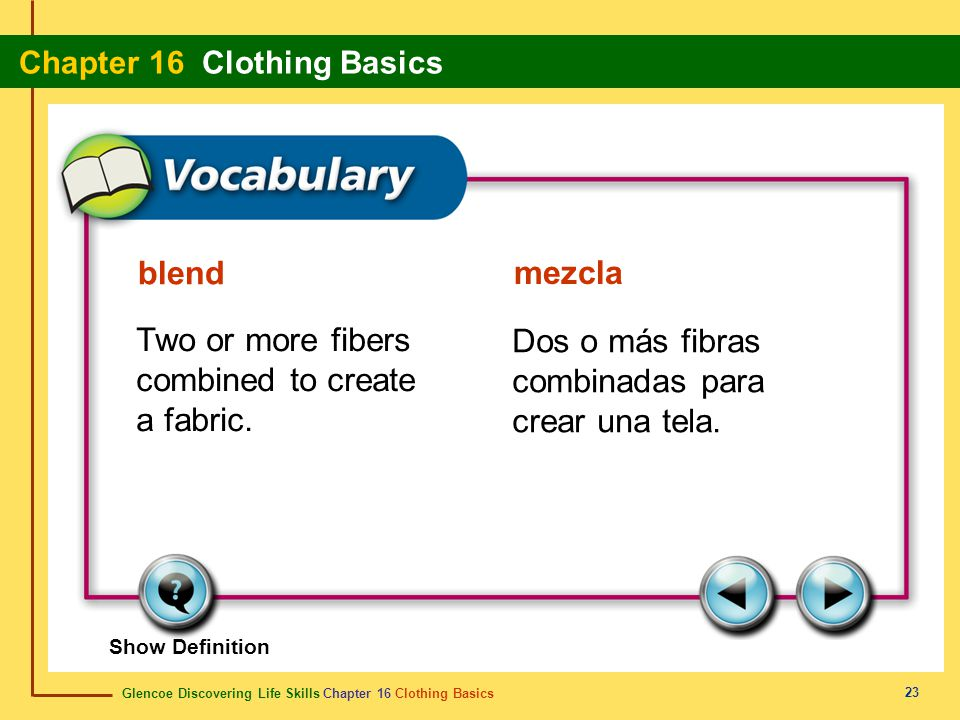Two or more fibers combined to create a fabric.