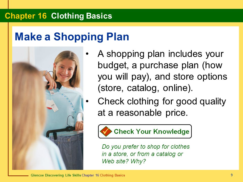 Make a Shopping Plan A shopping plan includes your budget, a purchase plan (how you will pay), and store options (store, catalog, online).