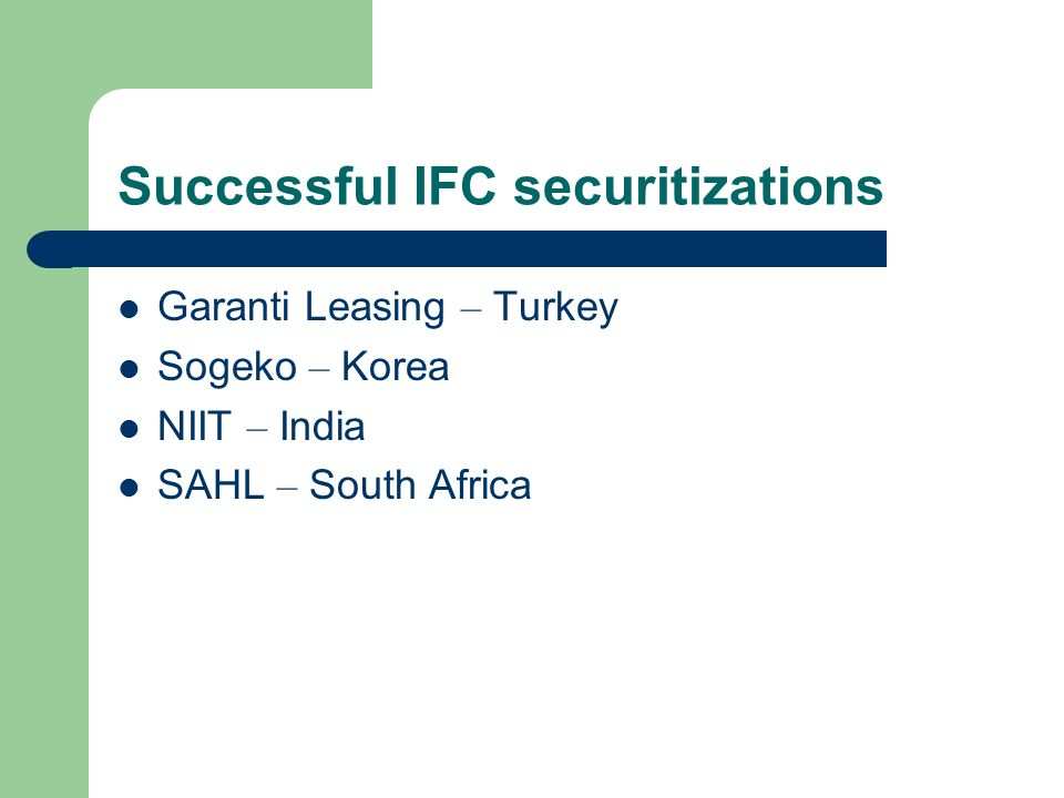 Successful IFC securitizations