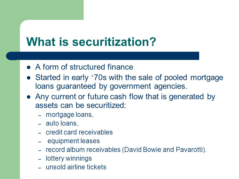 What is securitization