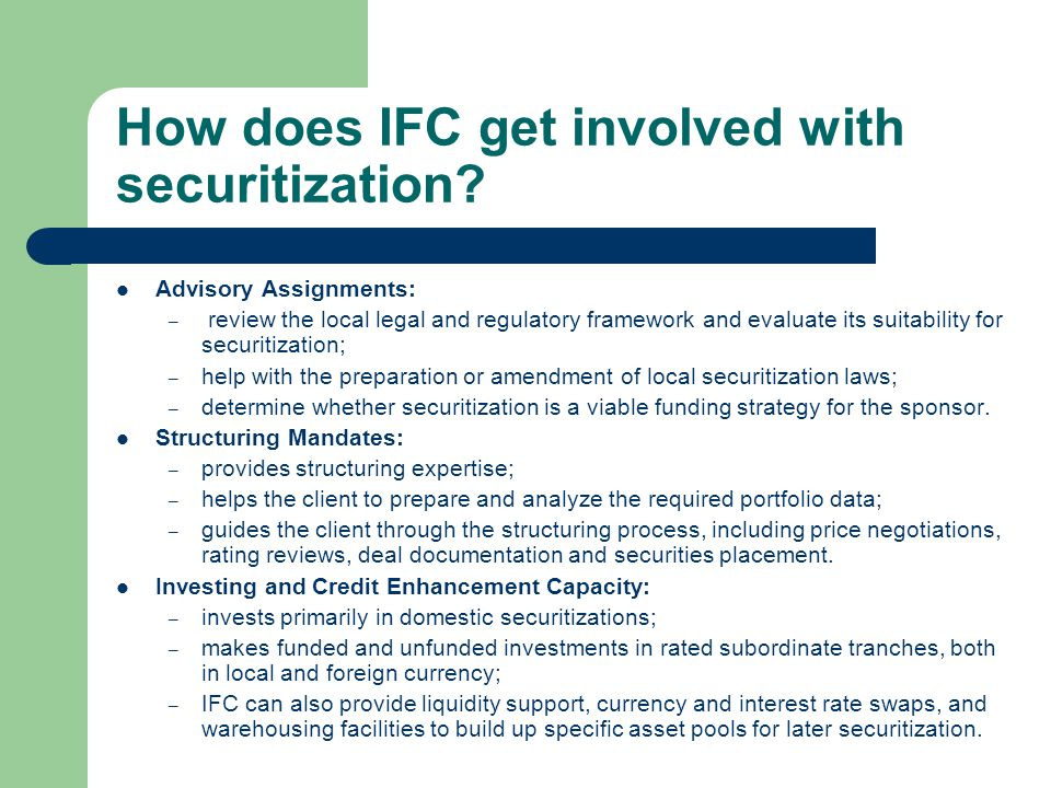 How does IFC get involved with securitization