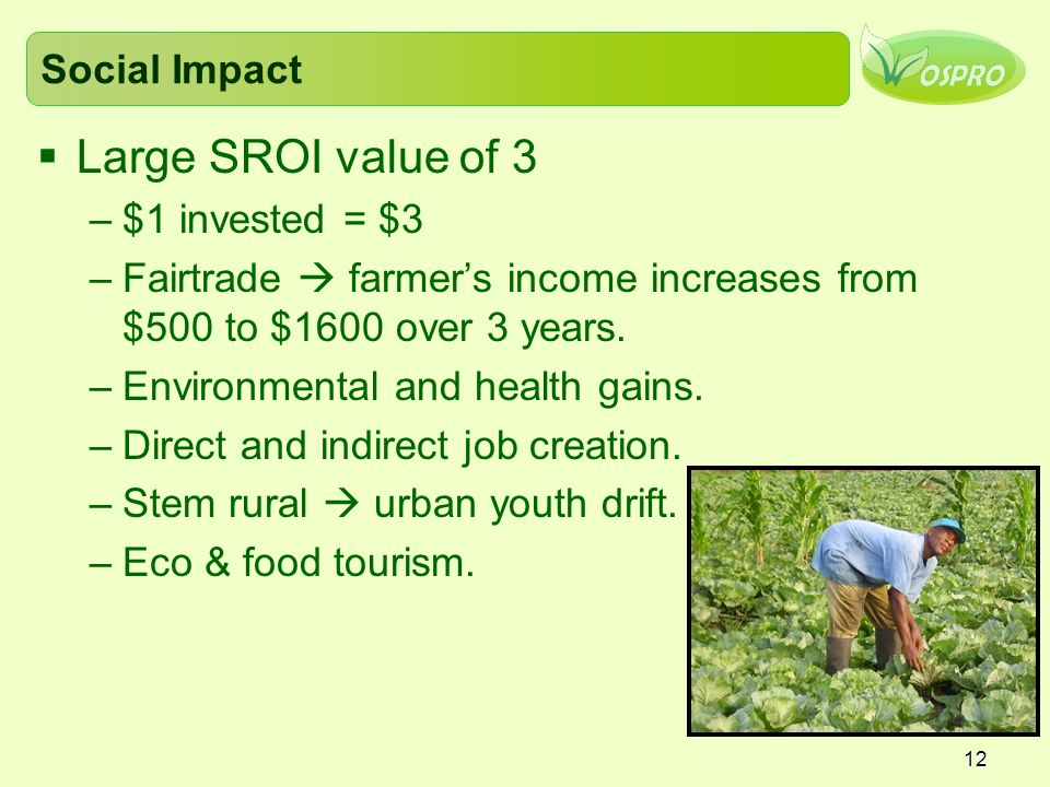 Large SROI value of 3 Social Impact $1 invested = $3
