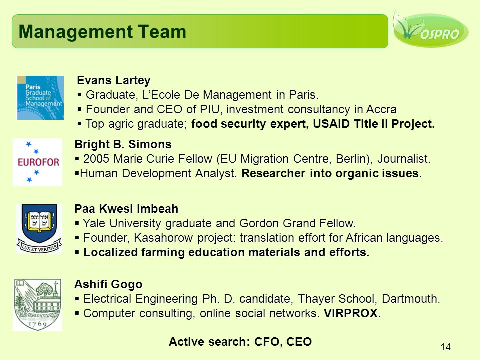 Management Team Evans Lartey Graduate, L'Ecole De Management in Paris.