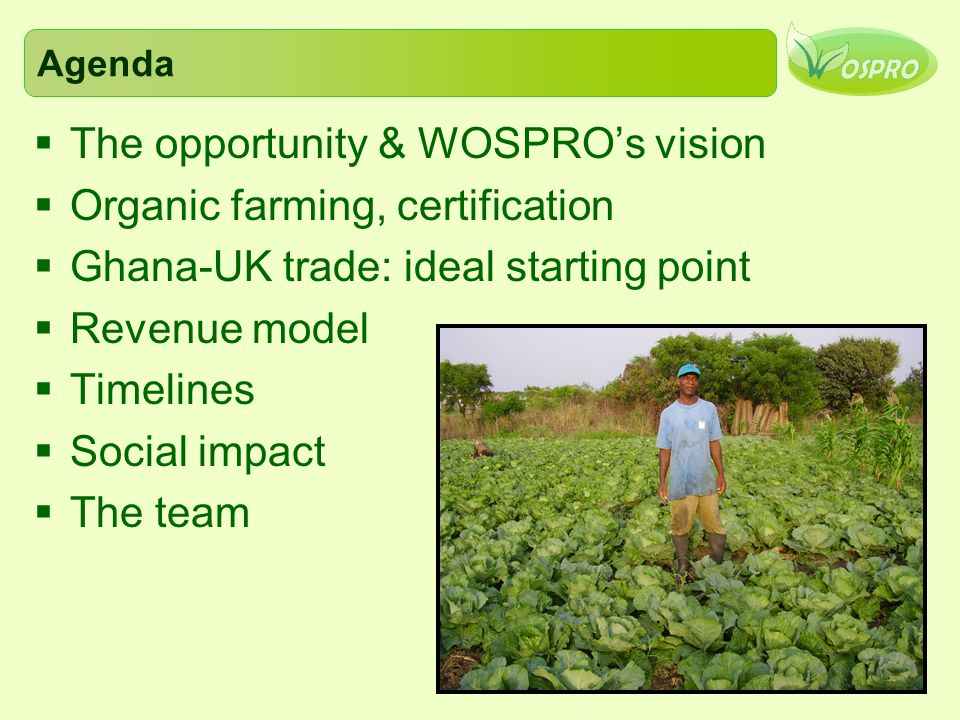 The opportunity & WOSPRO's vision Organic farming, certification