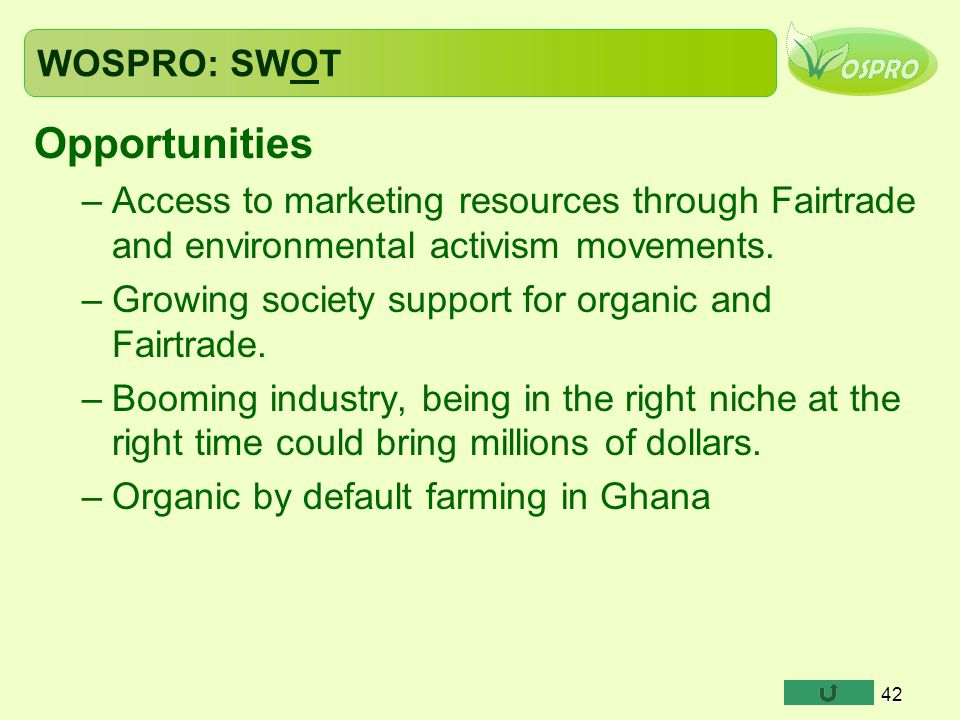 Opportunities WOSPRO: SWOT