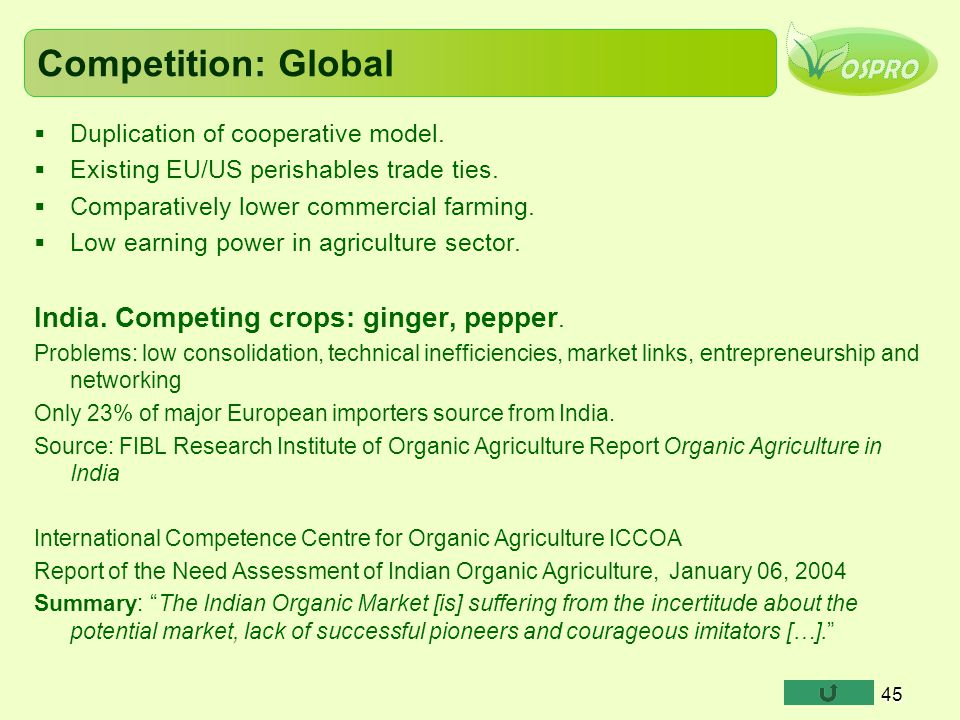 Competition: Global India. Competing crops: ginger, pepper.