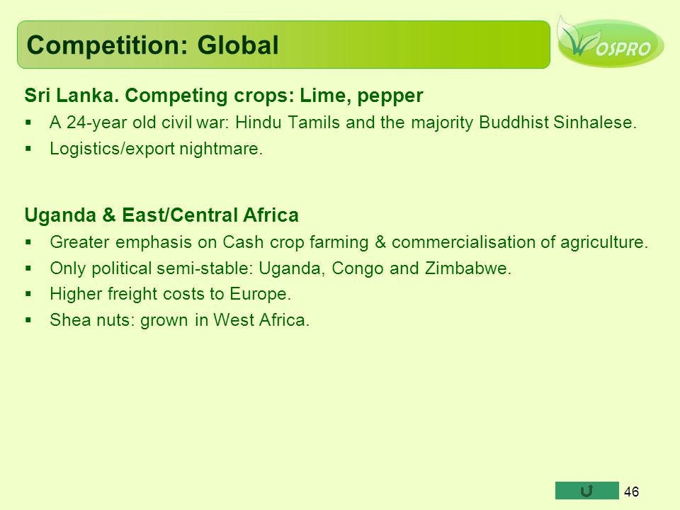 Competition: Global Sri Lanka. Competing crops: Lime, pepper