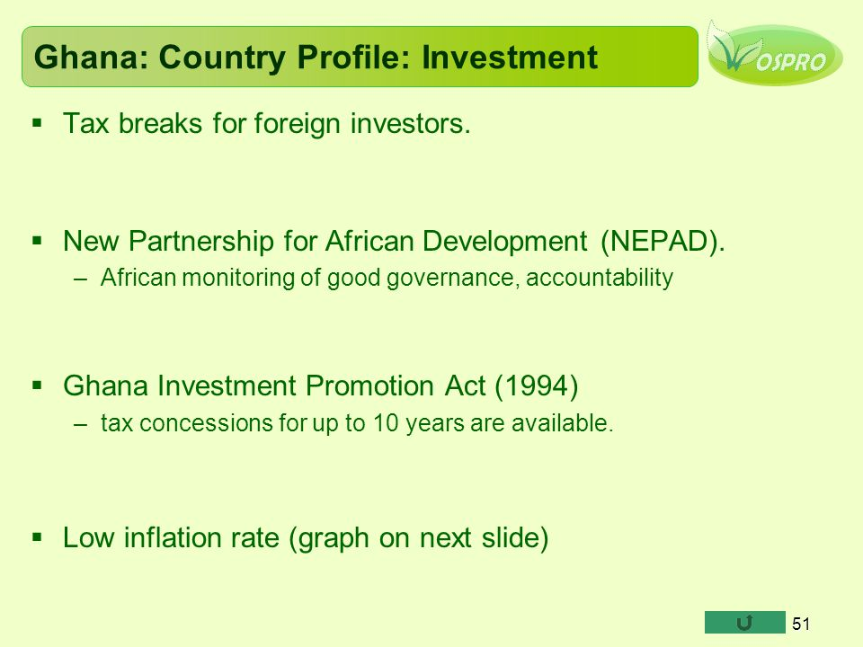 Ghana: Country Profile: Investment