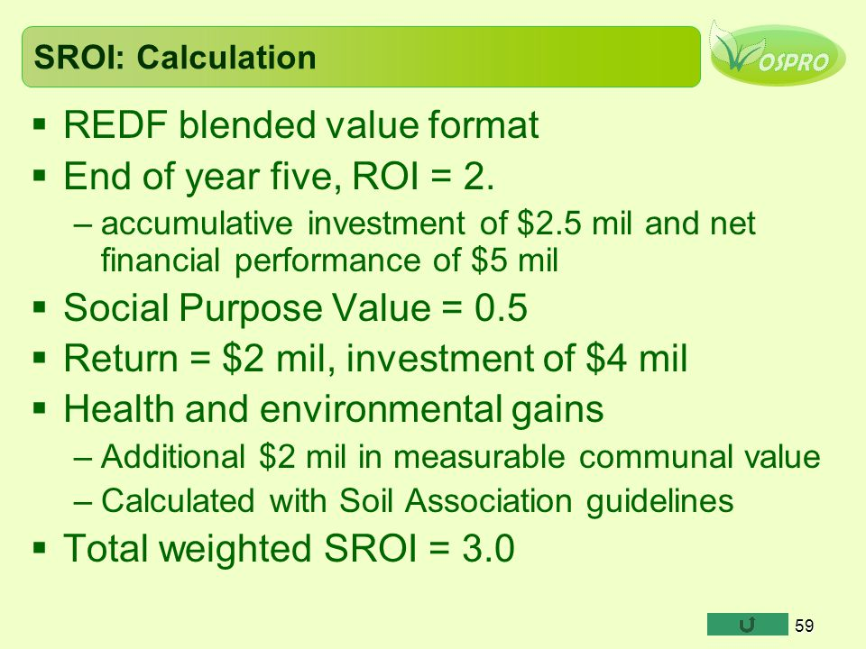 REDF blended value format End of year five, ROI = 2.