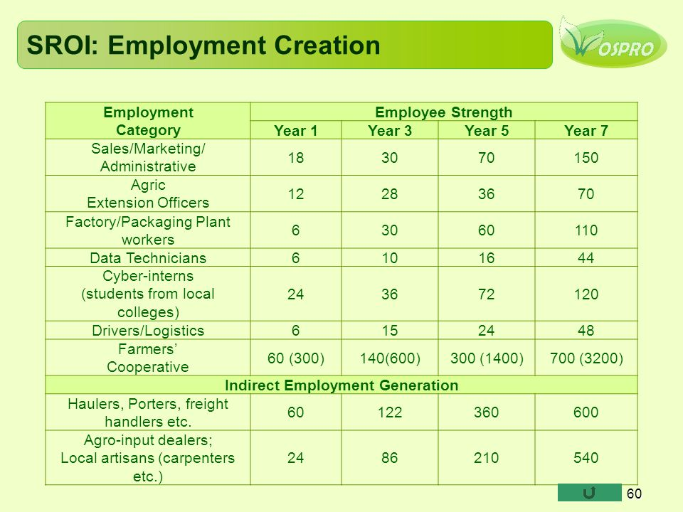 SROI: Employment Creation