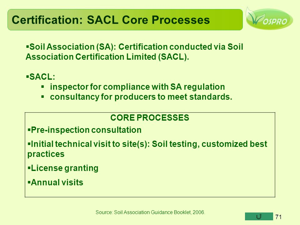 Certification: SACL Core Processes