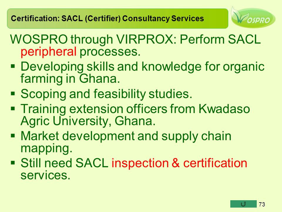 Certification: SACL (Certifier) Consultancy Services