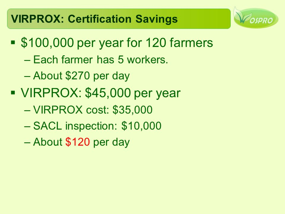 VIRPROX: Certification Savings