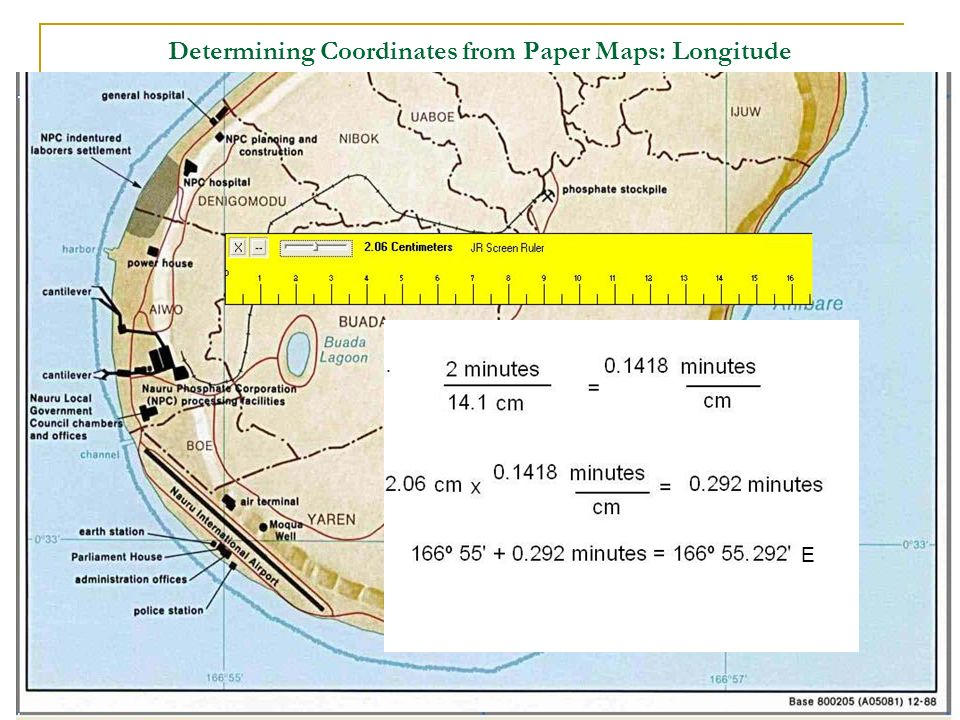 Determining Coordinates from Paper Maps: Longitude