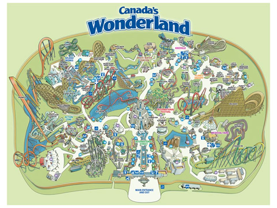 Map of Canada's Wonderland, N of Toronto, Canada