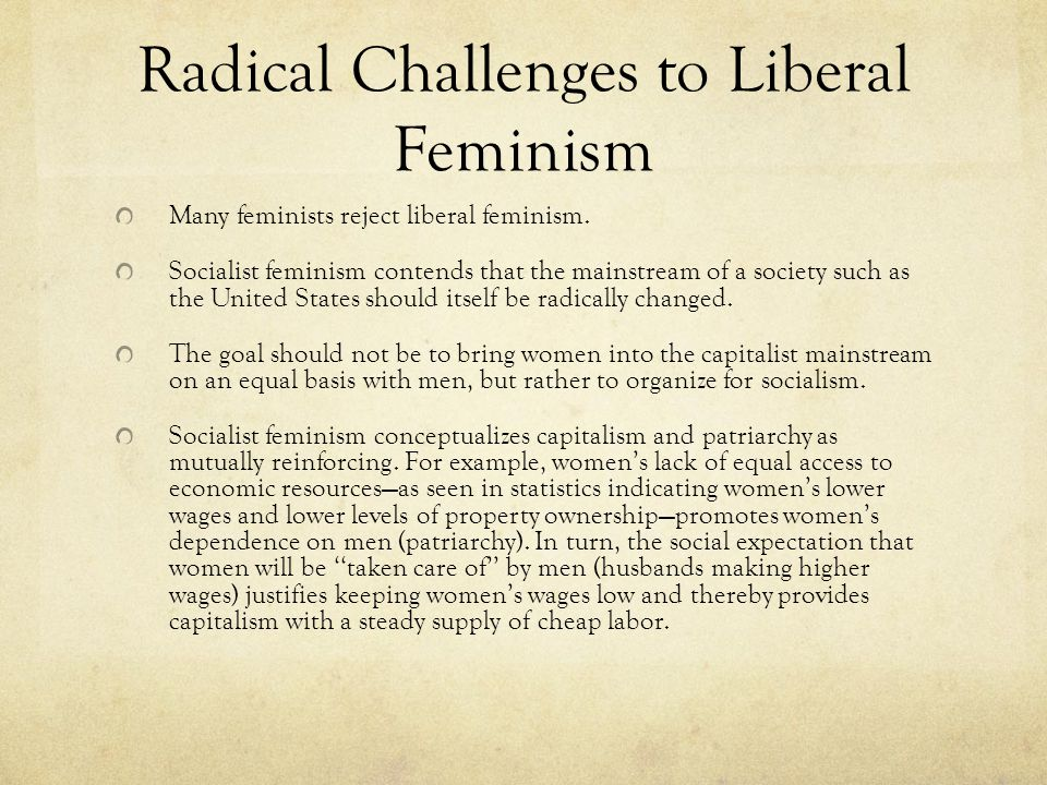Radical Challenges to Liberal Feminism