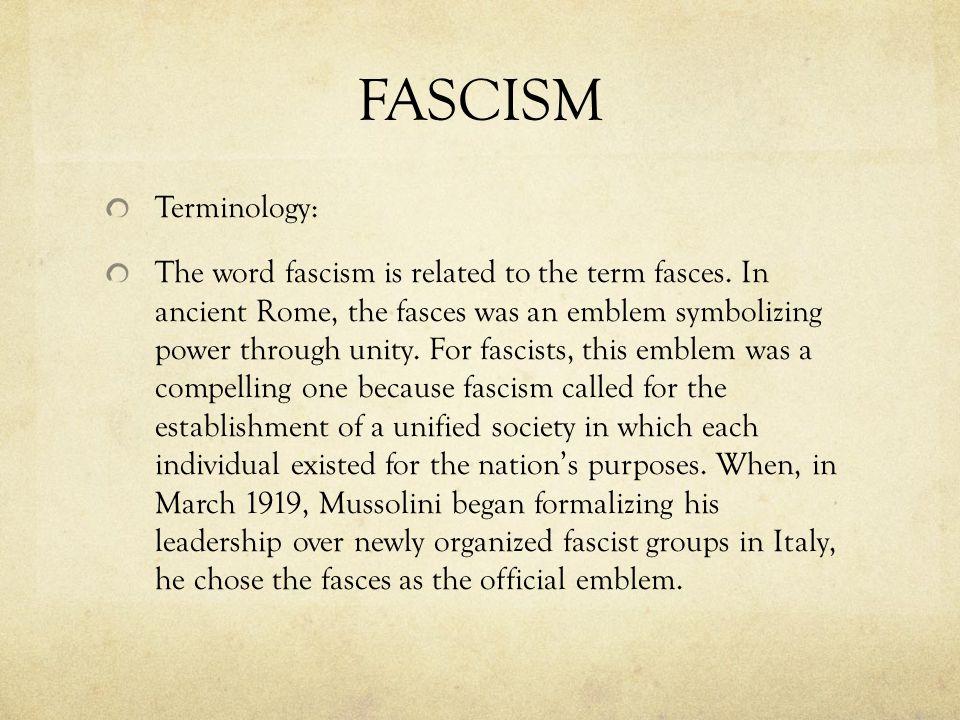FASCISM Terminology: