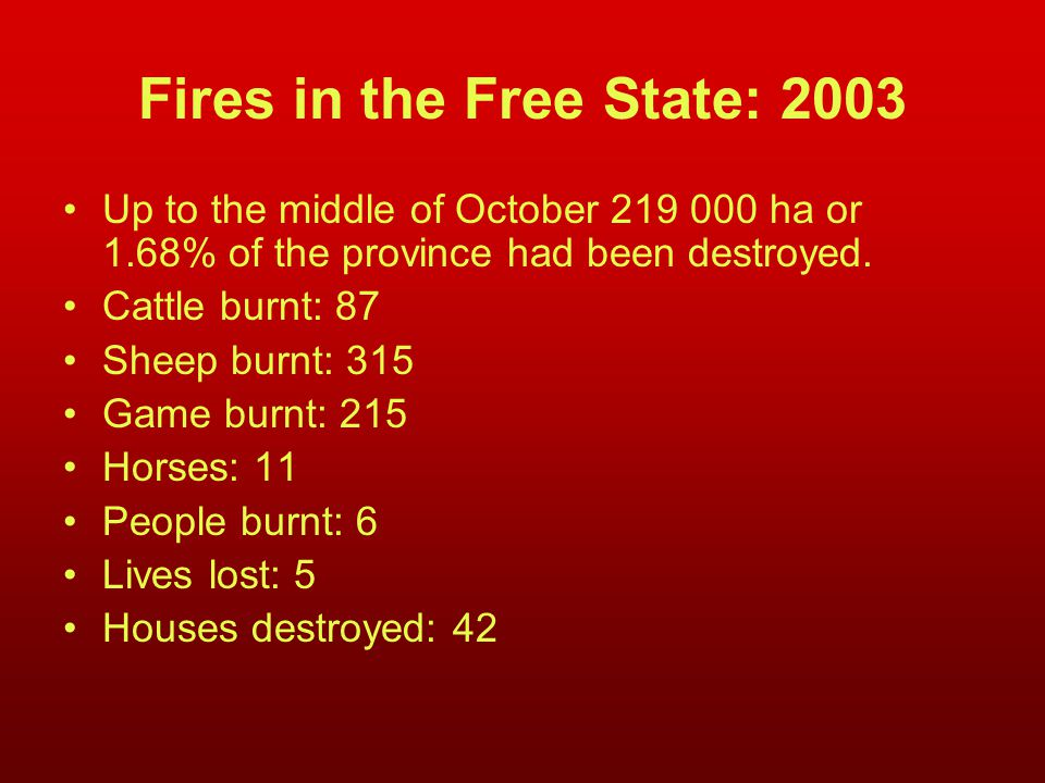 Fires in the Free State: 2003