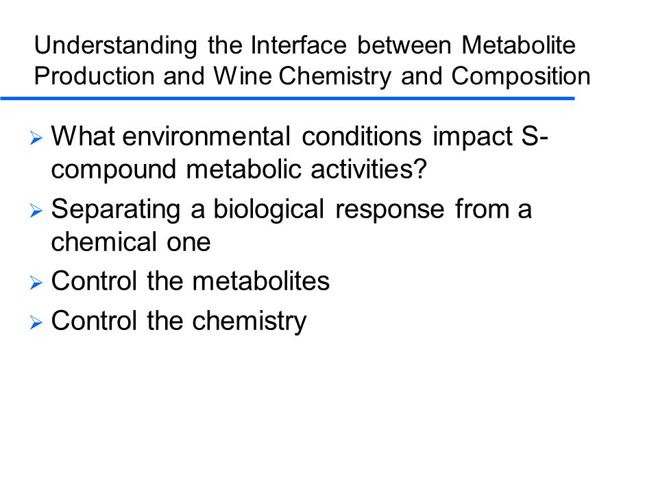 Understanding the Interface between Metabolite Production and Wine Chemistry and Composition