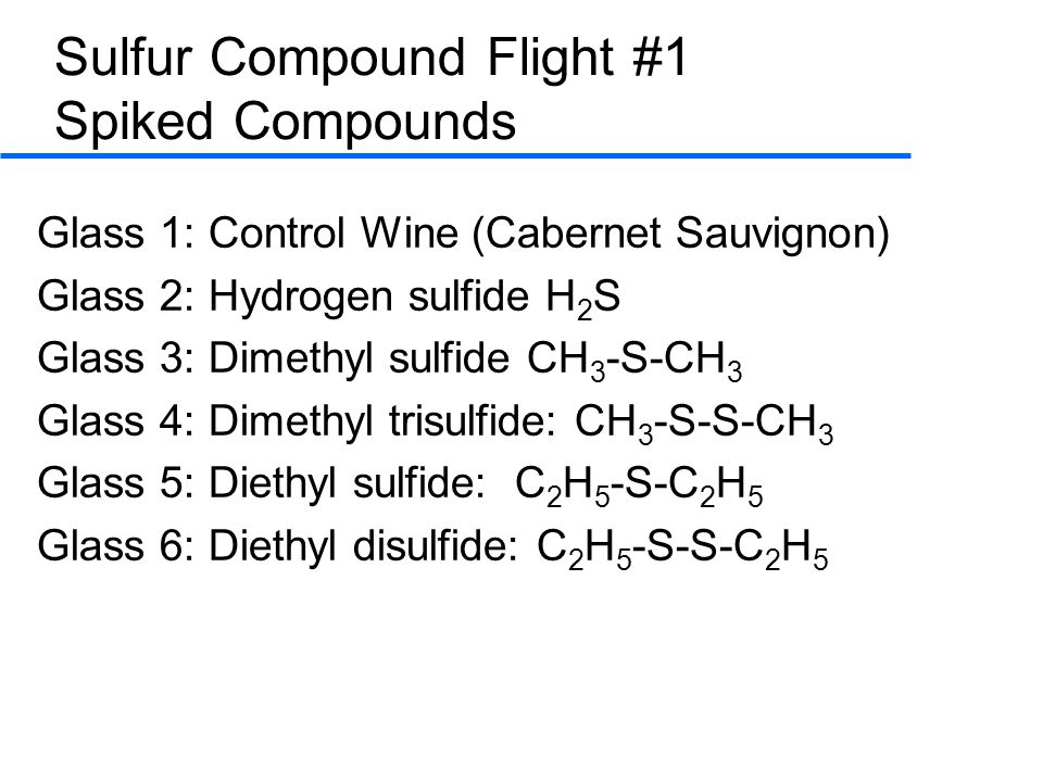 Sulfur Compound Flight #1 Spiked Compounds