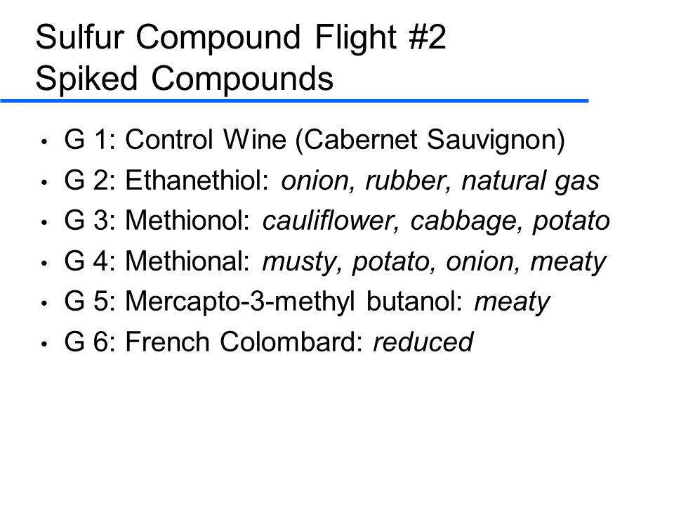 Sulfur Compound Flight #2 Spiked Compounds