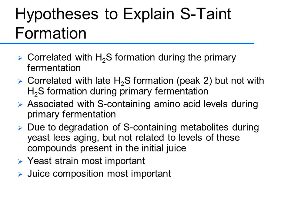 Hypotheses to Explain S-Taint Formation