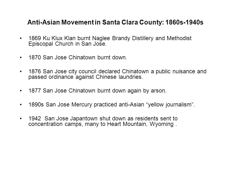 Anti-Asian Movement in Santa Clara County: 1860s-1940s