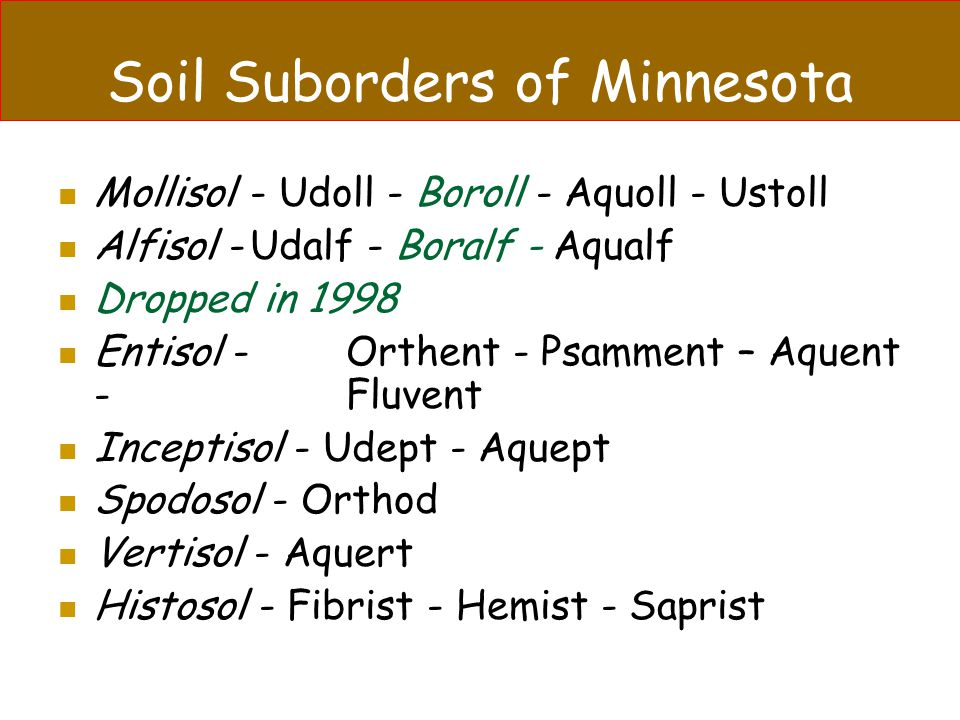 Soil Suborders of Minnesota