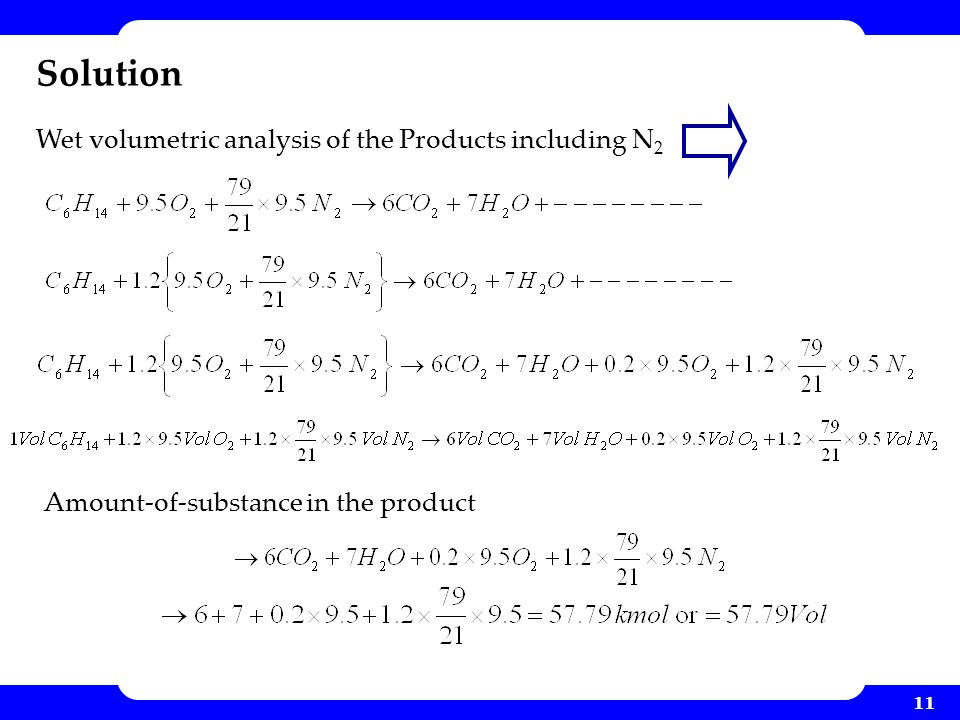 Solution Wet volumetric analysis of the Products including N2