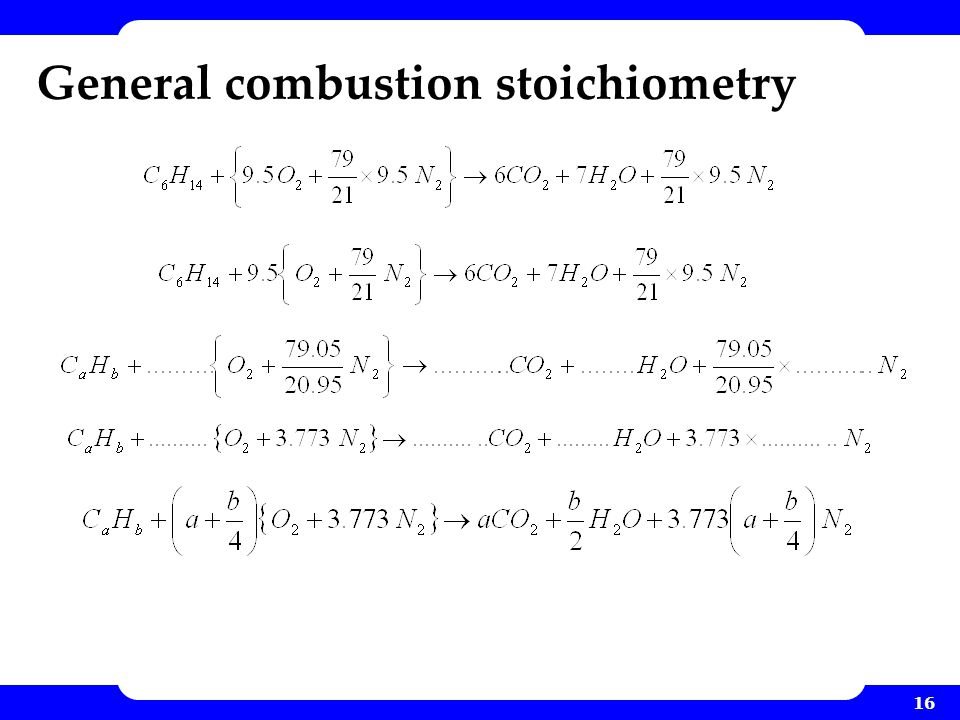 General combustion stoichiometry