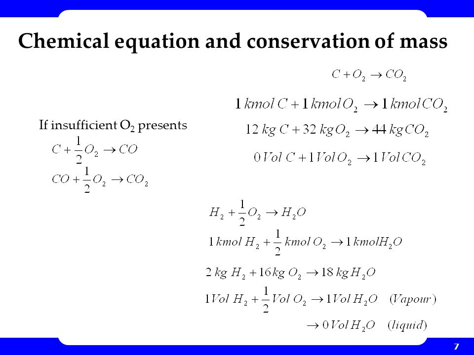 Chemical equation and conservation of mass