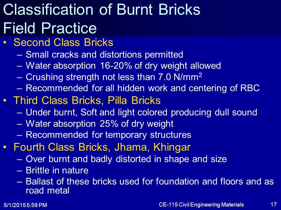 Classification of Burnt Bricks Field Practice