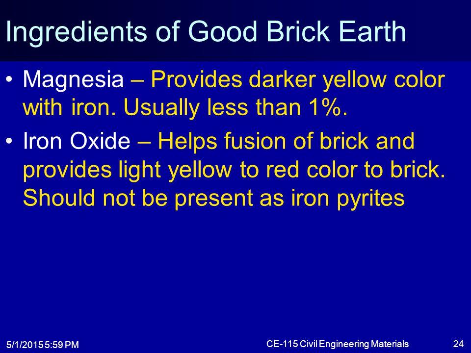 Ingredients of Good Brick Earth