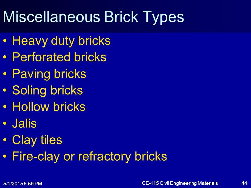 Miscellaneous Brick Types