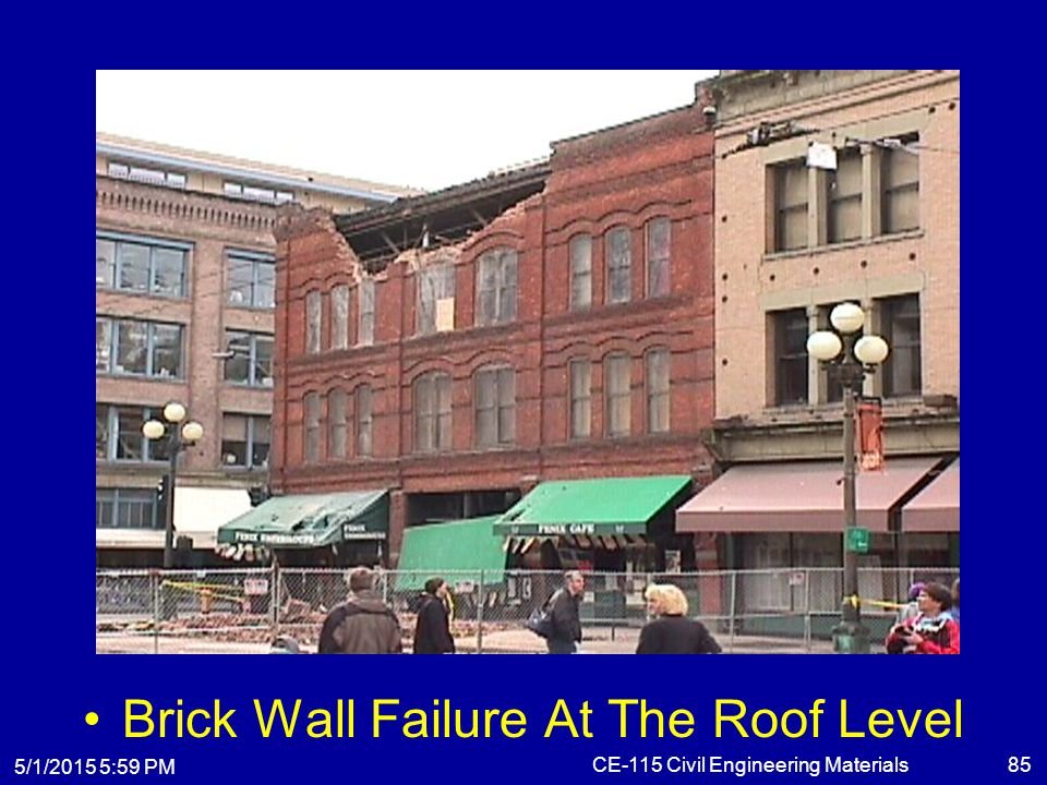Brick Wall Failure At The Roof Level