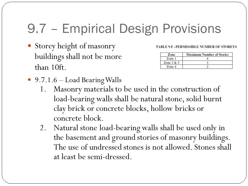9.7 – Empirical Design Provisions